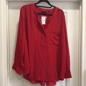 NWT Long Sleeved Red Blouse with Black Stitching